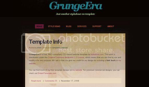 Free Grunge Era Pink Design CSS HTML Template